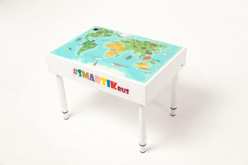 """Световая песочница SMARTIK с крышкой на весь стол и игровым полем """"карта мира"""""""