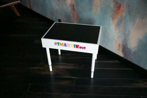 """Световая песочница SMARTIK с грифельной крышкой на весь стол и игровым полем """"карта мира"""""""