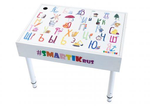 """Световая песочница SMARTIK с грифельной крышкой на весь стол и игровым полем """"алфавит"""""""