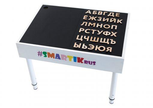 """Световая песочница SMARTIK с крышкой на весь стол и игровым полем """"буквы"""""""