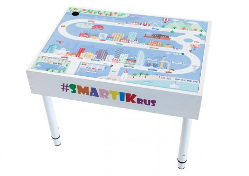 """Световая песочница SMARTIK с грифельной крышкой на весь стол и игровым полем """"город"""""""
