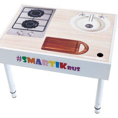 """Световая песочница SMARTIK с грифельной крышкой на весь стол и игровым полем """"кухня"""""""