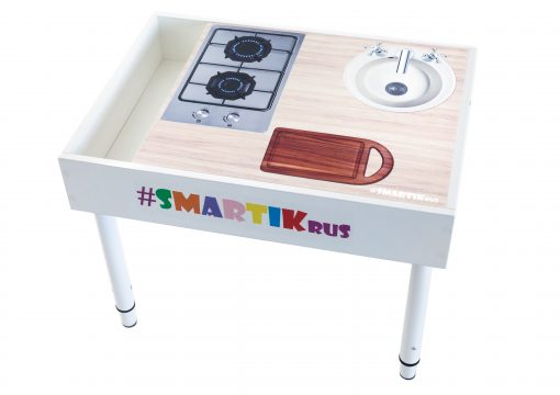 """Световая песочница SMARTIK с грифельной крышкой, игровым полем """"кухня"""" и открытым пеналом"""