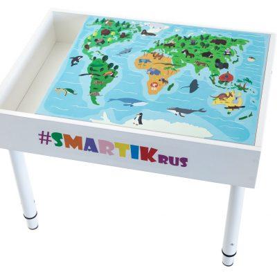 """Световая песочница SMARTIK с грифельной крышкой, игровым полем """"карта мира"""" и открытым пеналом"""
